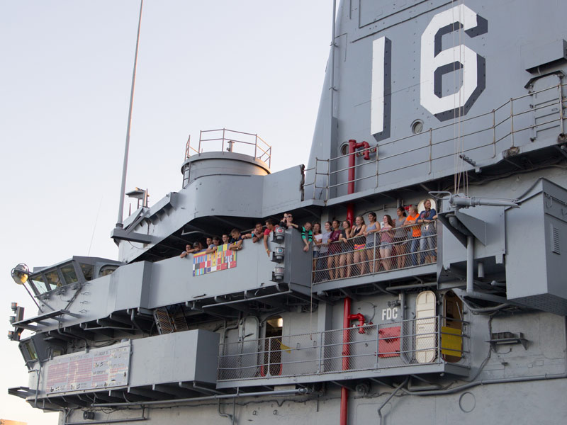 overnight camping group on flight deck